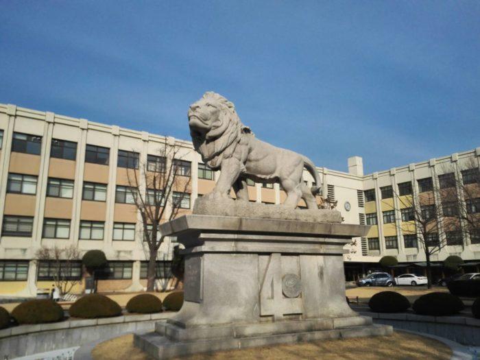 キョンヒ大学校ソウルキャンパスのライオン