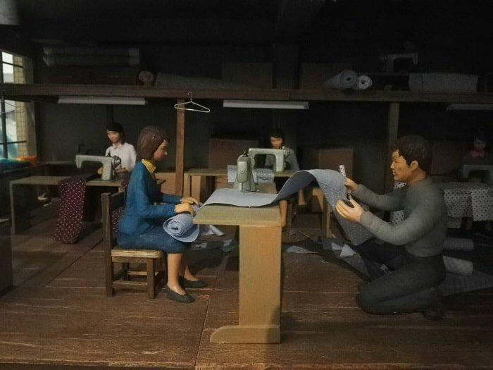 清渓川博物館展示物。平和市場の模型