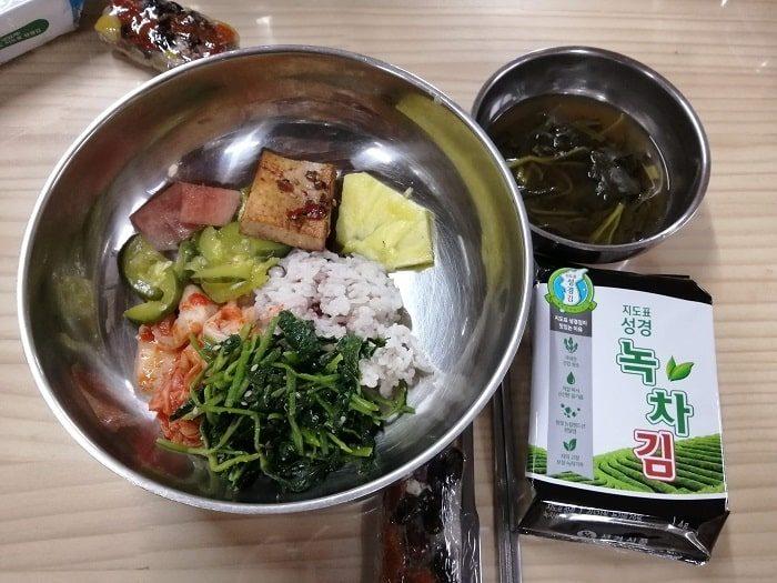 韓国お寺数珠作り テンプルステイ興国寺(フングクサ)テンプルステイ体験昼食のビビンパ