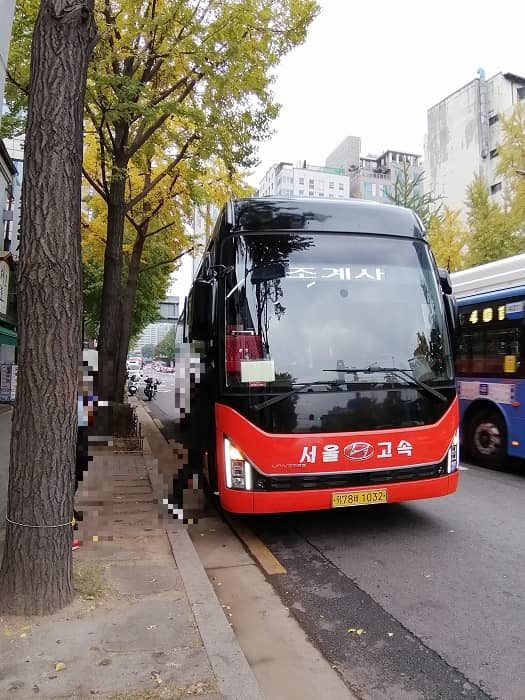 京畿道高陽市興国寺(フングクサ)テンプルステイ体験の送迎バス