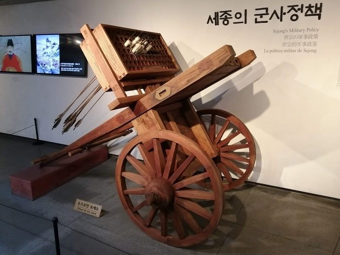 光化門広場の地下、世宗(セジョン)イヤギの兵器の展示