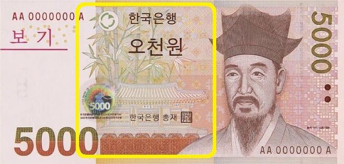 韓国紙幣の肖像画5千ウォン栗谷 李珥(イ・イ)と烏竹軒(オジュッコン)