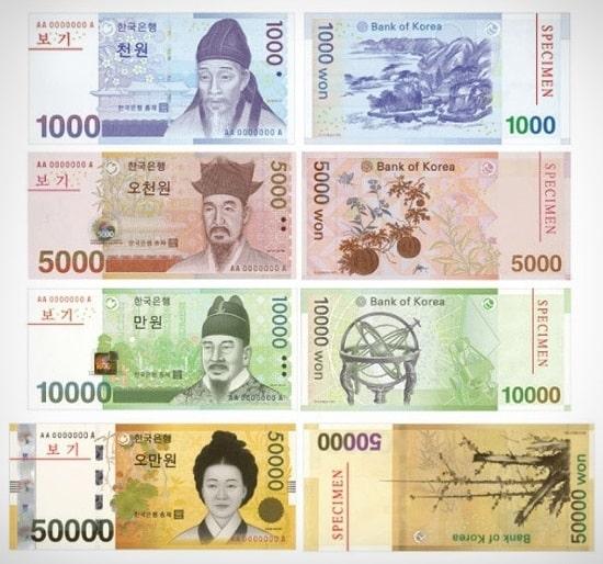 韓国紙幣の肖像画は誰?