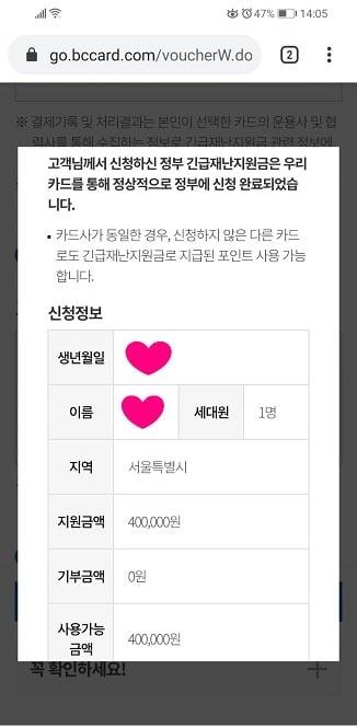 韓国政府の緊急災難支援金申請確認画面