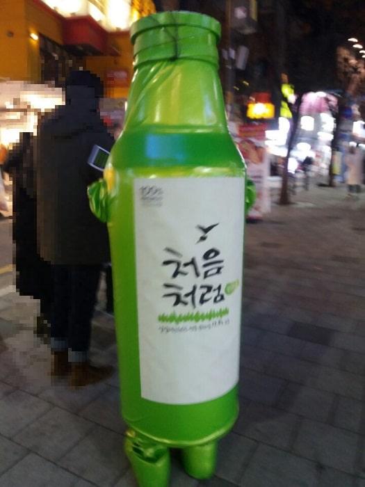 韓国の繁華街を歩くチョウムチョロムのビニール着ぐるみ