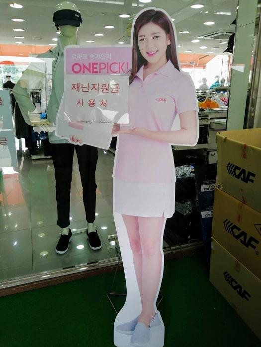 韓国のトロット歌手ソン・ガインの等身大パネル、立て看板