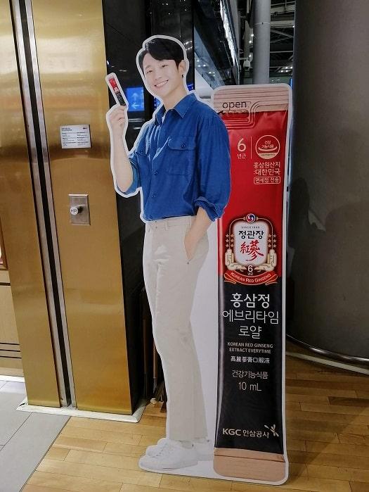 韓国の芸能人チョン・ヘインの等身大パネル、立て看板