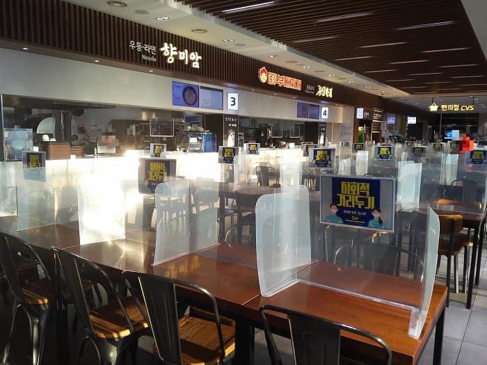 韓国の高速道路休憩所_コロナ19ソーシャルディスタンス
