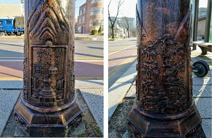 景福宮近くの電灯に刻まれた彫刻