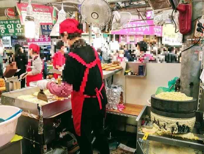 韓国カンジャンシジャン(緑豆チヂミ)有名店