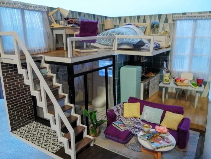 CuteBee DIY木製ドールハウス、メゾネットタイプ全景
