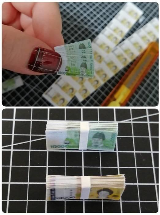 CuteBee DIY木製ドールハウス、ミニチュアお金札束作り方